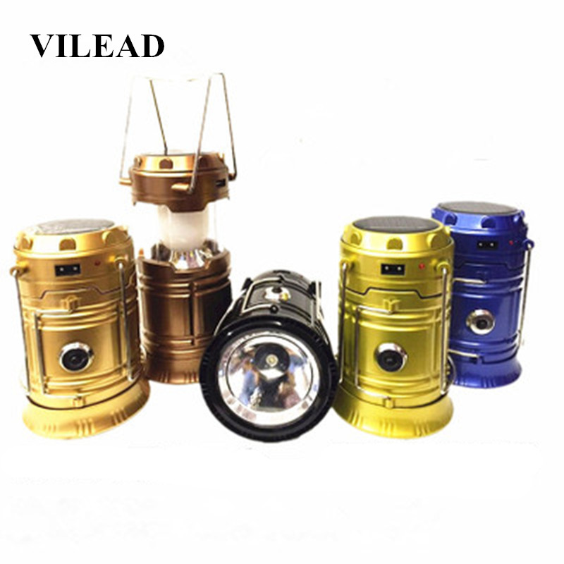 VILEAD Multi-functional Bright Lightweight LED Solar Charge Lantern Outdoor Portable Light Water Resistant Camping Lighting Lamp