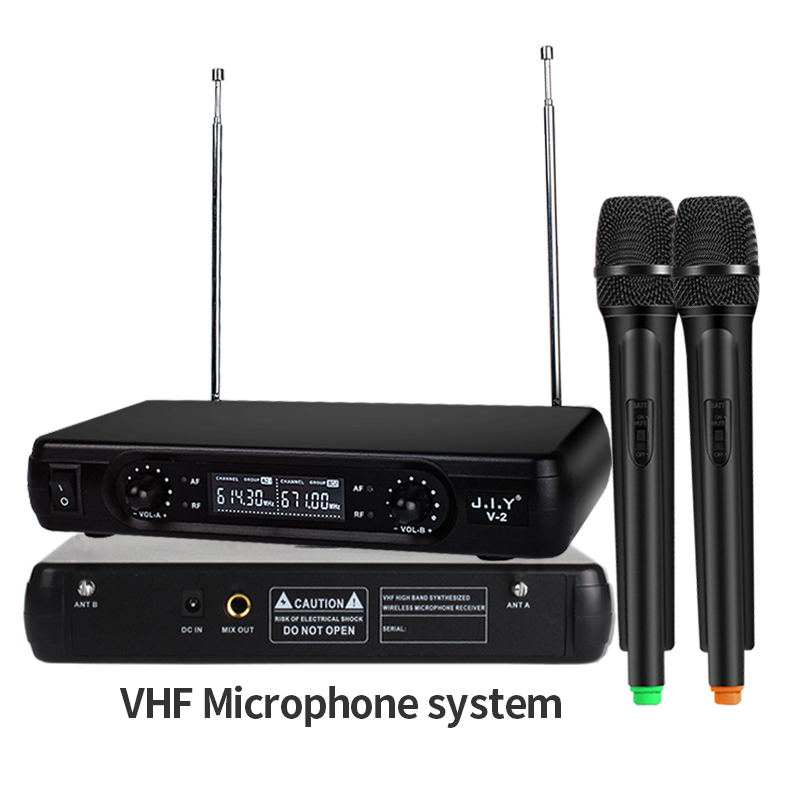 2CH Dynamic Wireless Microphone Long Range Dual Handheld Transmitter LED Receiver Professional VHF Mic for Karaoke Speech System2CH Dynamic Wireless Microphone Long Range Dual Handheld Transmitter LED Receiver Professional VHF Mic for Karaoke Speech System