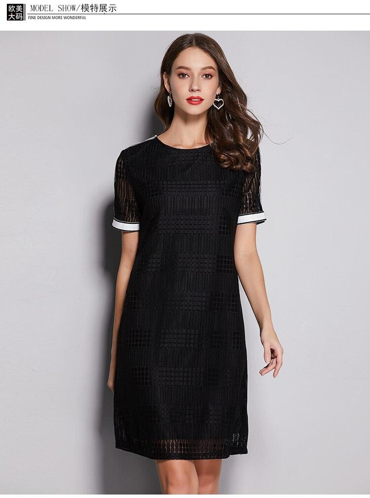 Plaid ajouré dentelle robe à manches courtes droite sangle contraste couleur marque femme 2019 été robe
