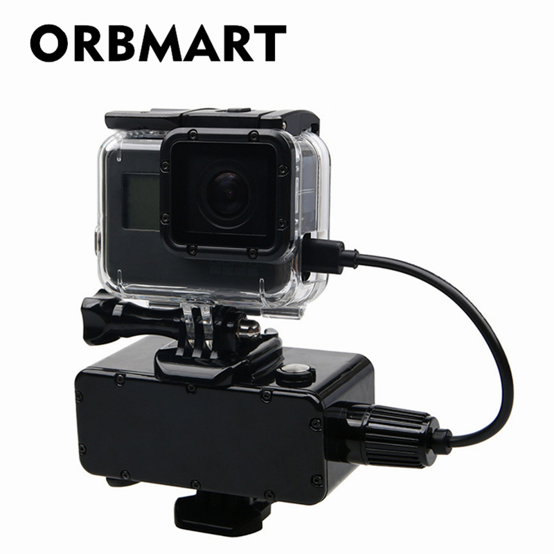 ORBMART 5200mAh Waterproof Extended Battery Side Power Bank For Gopro Hero 5 6 7 Session Xiaomi Yi SJCAM Action Sport Cameras scuba dive light