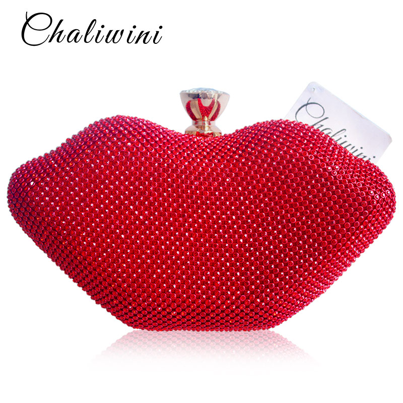 Sexy Female Red Lips Crystal Purses and Handbags Ladies Metal Day Toiletry Punk Party Wallet Women Shoulder Evening Clutch Bag