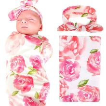 Newborn Baby Swaddle Blanket and Headband Value Set,Receiving Blankets , Pink Flower