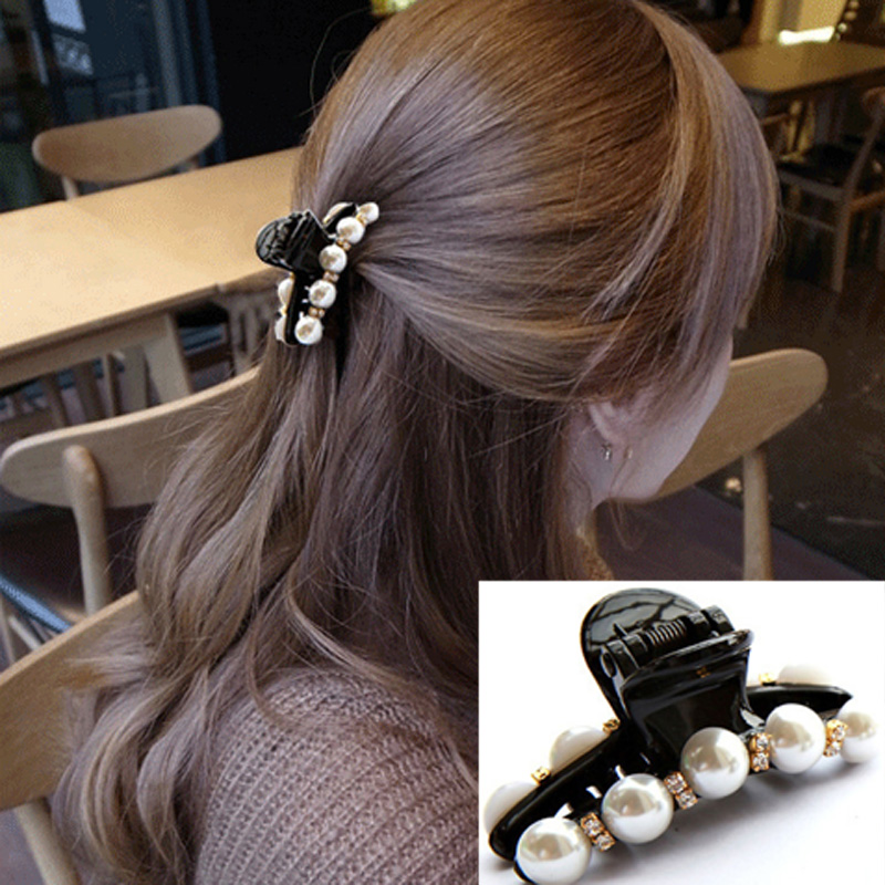 1 pair Hair Clip Black Claw Clip Crystal Pearl Plastics for Women/Girls Party Festival Rhinestone Hairpins Hair Band Accessories women headwear gift rhinestone hair claw butterfly flower hair clip 5 5cm long middle size bow hair accessories for girls