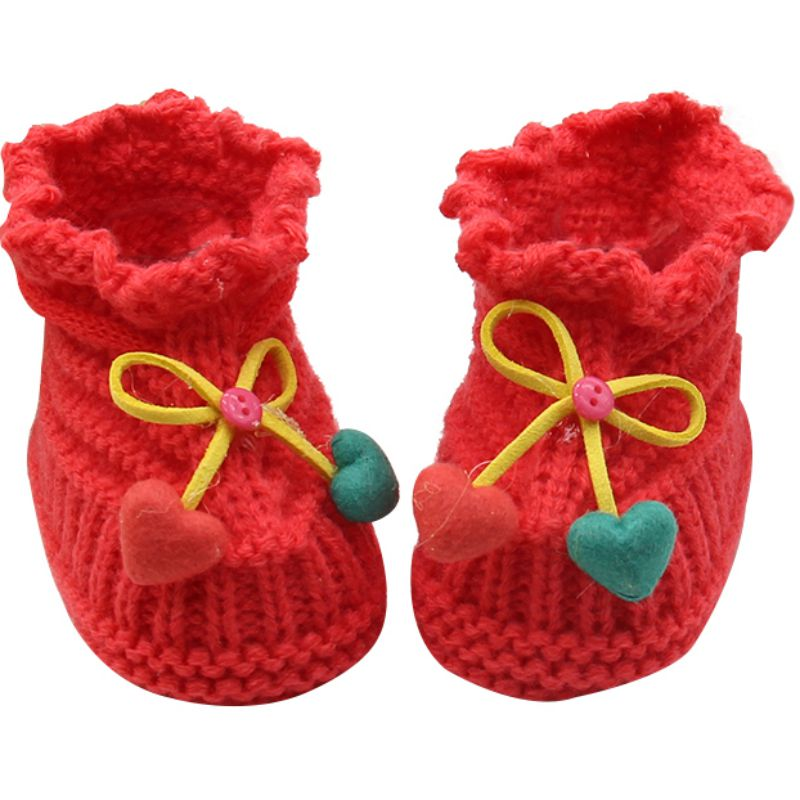 Newborn Kids Baby Infant Crochet Knit Socks Boots Crib Shoes Prewalker 0-6 Months Y56