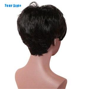 Image 3 - あなたのスタイル合成ショートピクシーカットかつら女性のための前髪自然な髪女性フルウィッグ女性熱 Resisitant 繊維