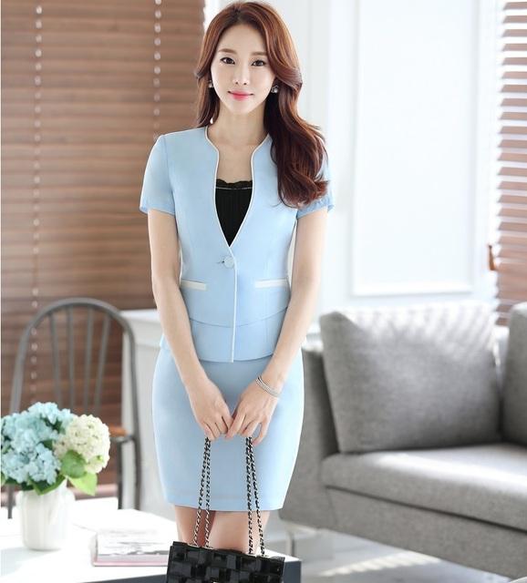 Novidade Azul Moda Estilos OL Profissional Formal Das Senhoras Ternos de Negócio Com Jaquetas E Blazers Feminino Saia de Verão Roupas
