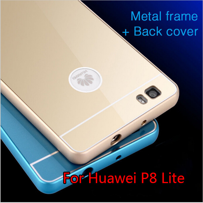 For Huawei P8 lite/P8 Case,Alumium Metal Frame With PC Back Cover Luxury Hard Case For Huawei Ascend P9/P9 Lite/P9 Plus Gold