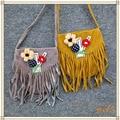 Kawaii princeness crossbody bags 2016 Fashion tassel girls messenger bags flower children coin purses tassel mini kids bag