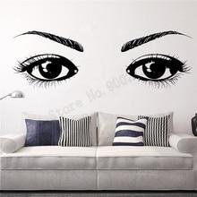 Eyes Girl Face Beauty SALON Wall Decoration Women Modern Fashion Sticker Vinyl Art Removeable Ornament LY944