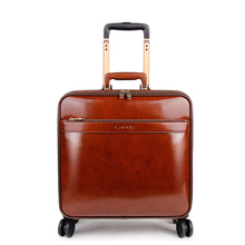 """Carrylove men genuine vintage hand luggage 16"""" 20"""" cow leather retro cabin trolley suitcase for boarding"""