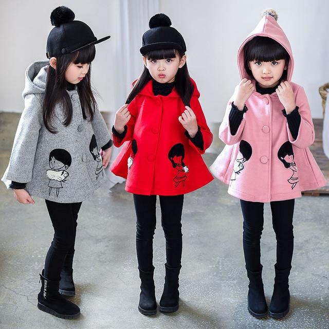 2-6T Fashion Girls Wool Coat Cartoon Single-Breasted Hoody Woolen Overcoat Dress B89