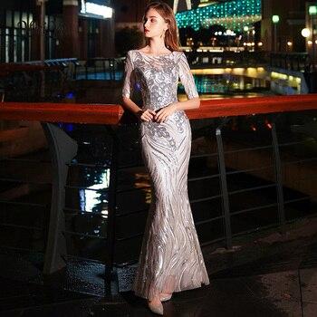 bbd72c22a7d2 Weiyin Sliver sirena vestidos de noche largos 2019 para mujeres de lujo  cuello redondo Sexy ilusión espalda descubierta vestidos de fiesta de ...