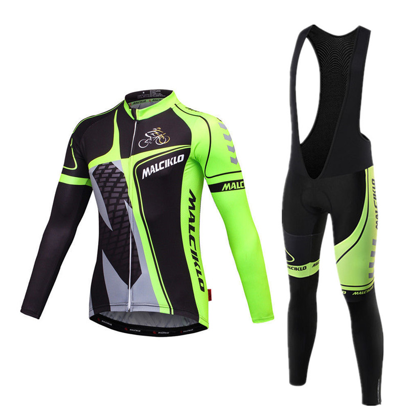 Men's Fluo Green Black Long Sleeve Cycling Jersey 2017 Ropa Ciclismo Mountain Bike Wear Clothes Skinsuit Maillot Cycling Sets shengqi men s long sleeve cycling jersey pants set green black m