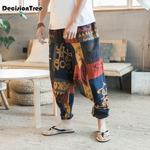 2019 mens vintage cotton linen hippy boho aladdin harem wide leg ninja pants trousers casual nepal indian