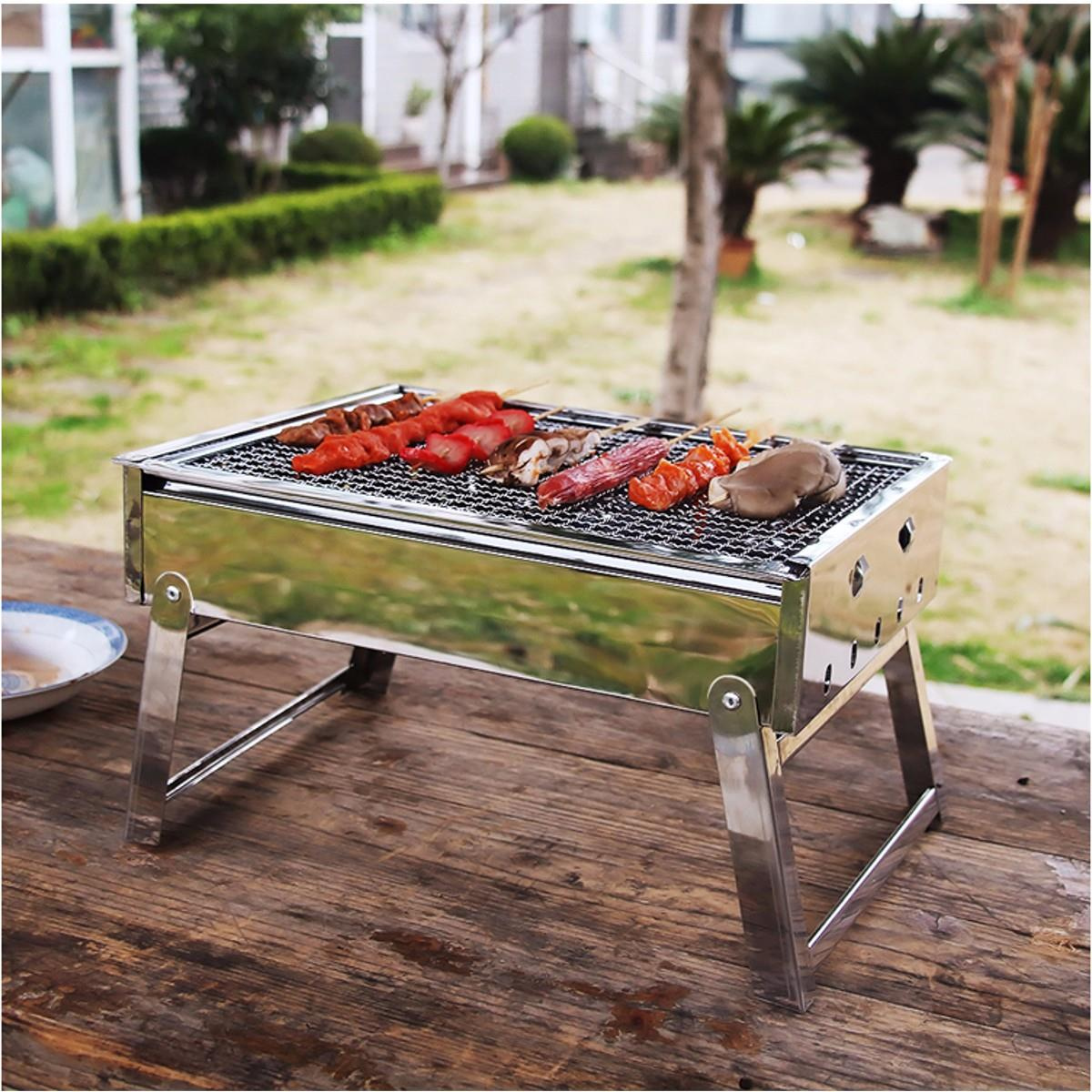 Portable Grill Rack Stainless Steel Stove Pan Outdoor Roaster Outdoor Charcoal Barbecue Home Oven Set Cooking Picnic BBQ Camping