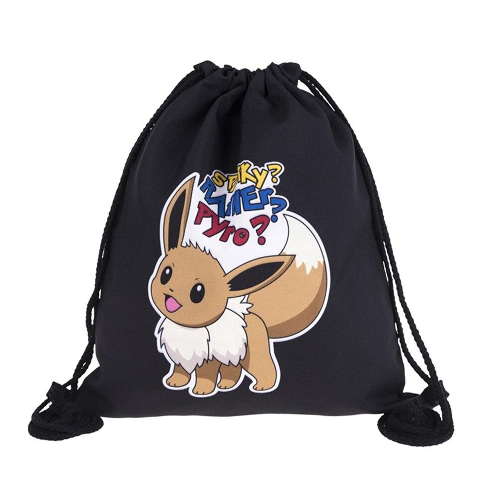 Various Style Black Pocket Monster Printing Leather Bottom Backpack Women Brand Men Leisure Mochila Feminina Drawstring Bag