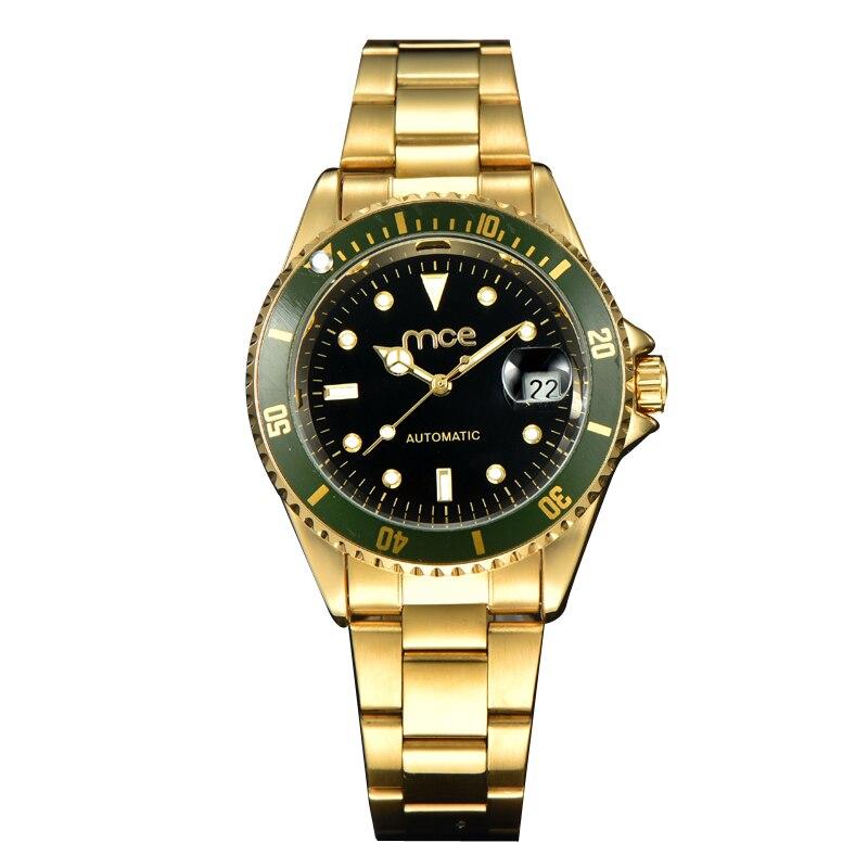 Hot Sale Luxury Golden Luminous Automatic Mechanical Rotator Discs Stainless Steel Band Wrist Watch Men Best Gift MCE Clock