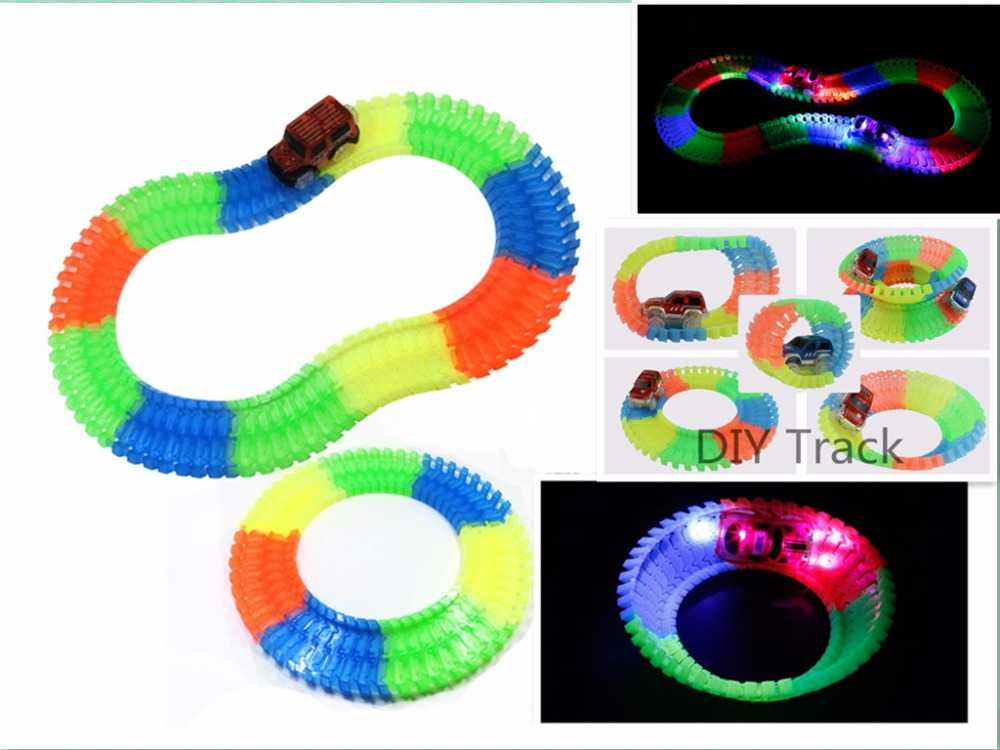 240pcs/set Flexible Track Railway Road Toys For Boys Children Glowing Tracks Cars Luminous Racing DIY Track