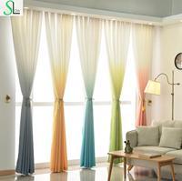 כיתה גבוהה 5 צבע הדרגתי צהוב כחול אפור ורוד ירוק מודרני וילון טול וילונות לסלון ובדים יפה|וילונות|   -
