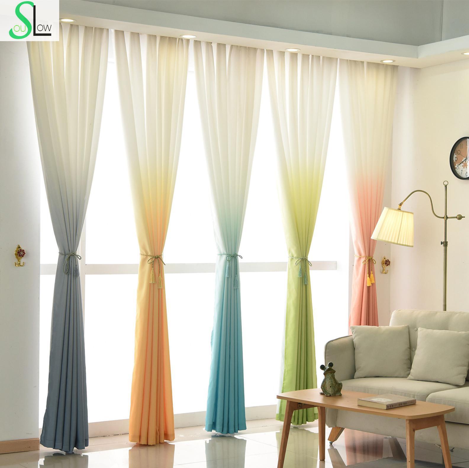 €7.21 35% de réduction|Haute qualité 5 dégradé couleur jaune bleu gris rose  vert rideau moderne Tulle rideaux pour salon et tissus belle-in Rideaux ...