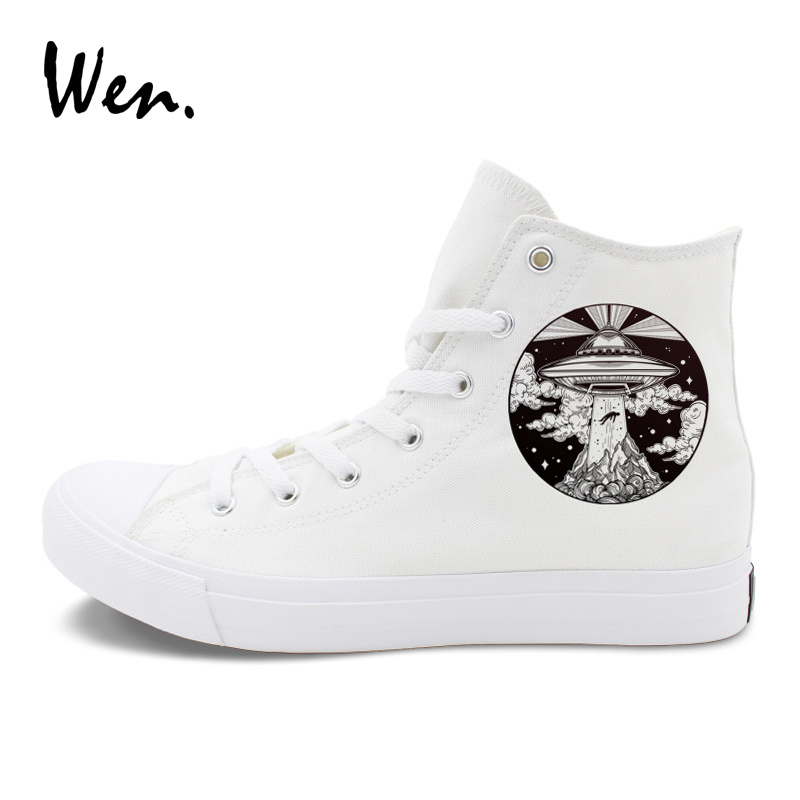 418531c81ef Wen Design UFO Flying Saucer Alien Lighthouse Canvas Original Shoes High Top  Women Men Skateboard Sneakers White Black Colors-in Skateboarding from  Sports ...