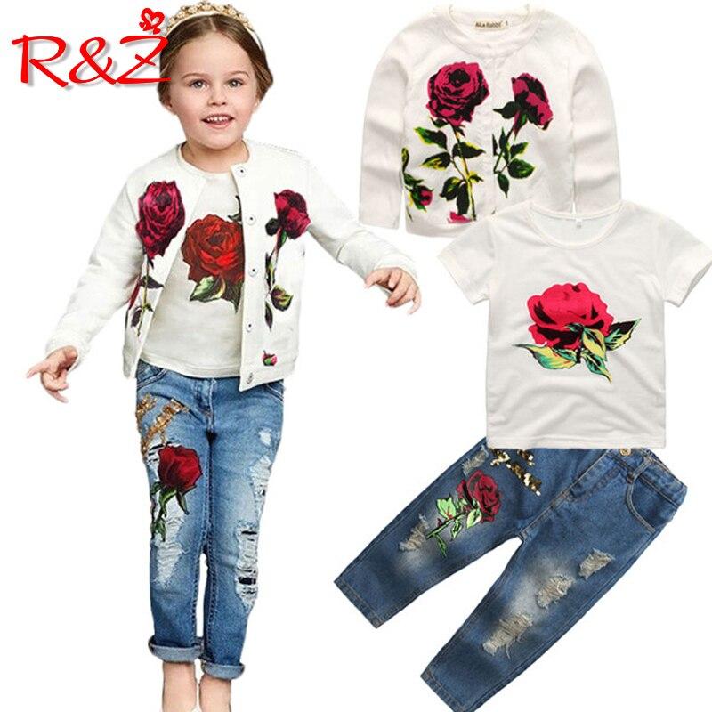 d40a37584 R & Z الفتيات الملابس مجموعة 2018 الربيع الخريف العلامة التجارية الجديدة  الأزياء ارتفع 3 pcs