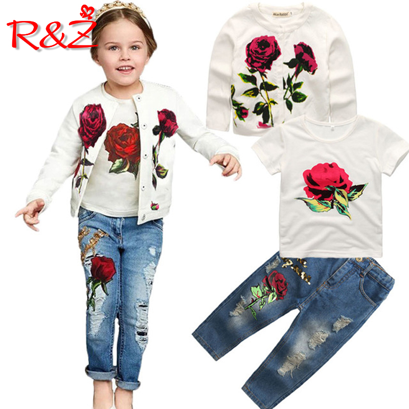 R&Z Girls Clothes Set 2018 Spring Autumn New Brand Fashion Rose  3pcs 2-9Y Kids long sleeves flower Children Clothing set k1