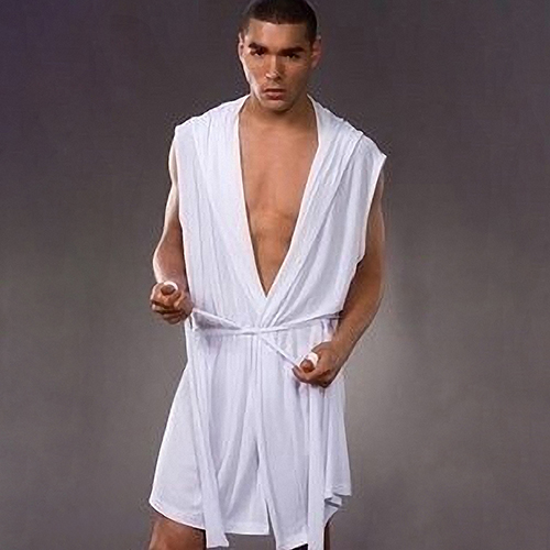 Fashion Men Sexy Summer Sleeveless Sleepwear Robe Hooded Bathrobe Casual Pajamas(China)