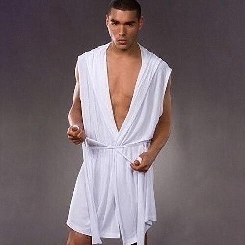 Fashion Men Sexy Summer Sleeveless Sleepwear Robe Hooded Bathrobe Casual Pajamas