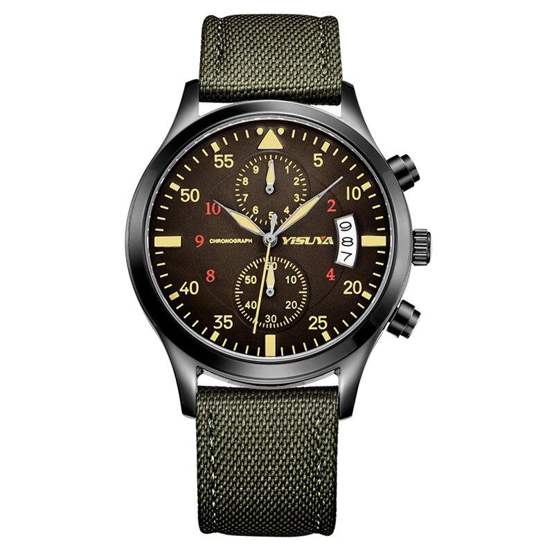 YISUYA Brand Cool Fashion Dress Wrist Watch Men Aviator Day Date Chronograph Watches Boy Men Nylon Band Gift for Christmas Male