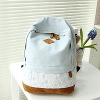Denim cổ điển Ren Backpack Satchel Rucksack Shoulder Trường Du Lịch Túi Vênh Vang lưu tr