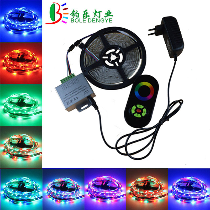 5m IP65 2835 Waterproof RGB LED Strip RGB led tape with RF touch wireless dimmer controller rgb led ribbon for New Year 10M 15M hbl led strip 2835 5m 10m rgb led strip light 15m 20m 3528 smd led ribbon flexible led tape non waterproof 12v adapter full set