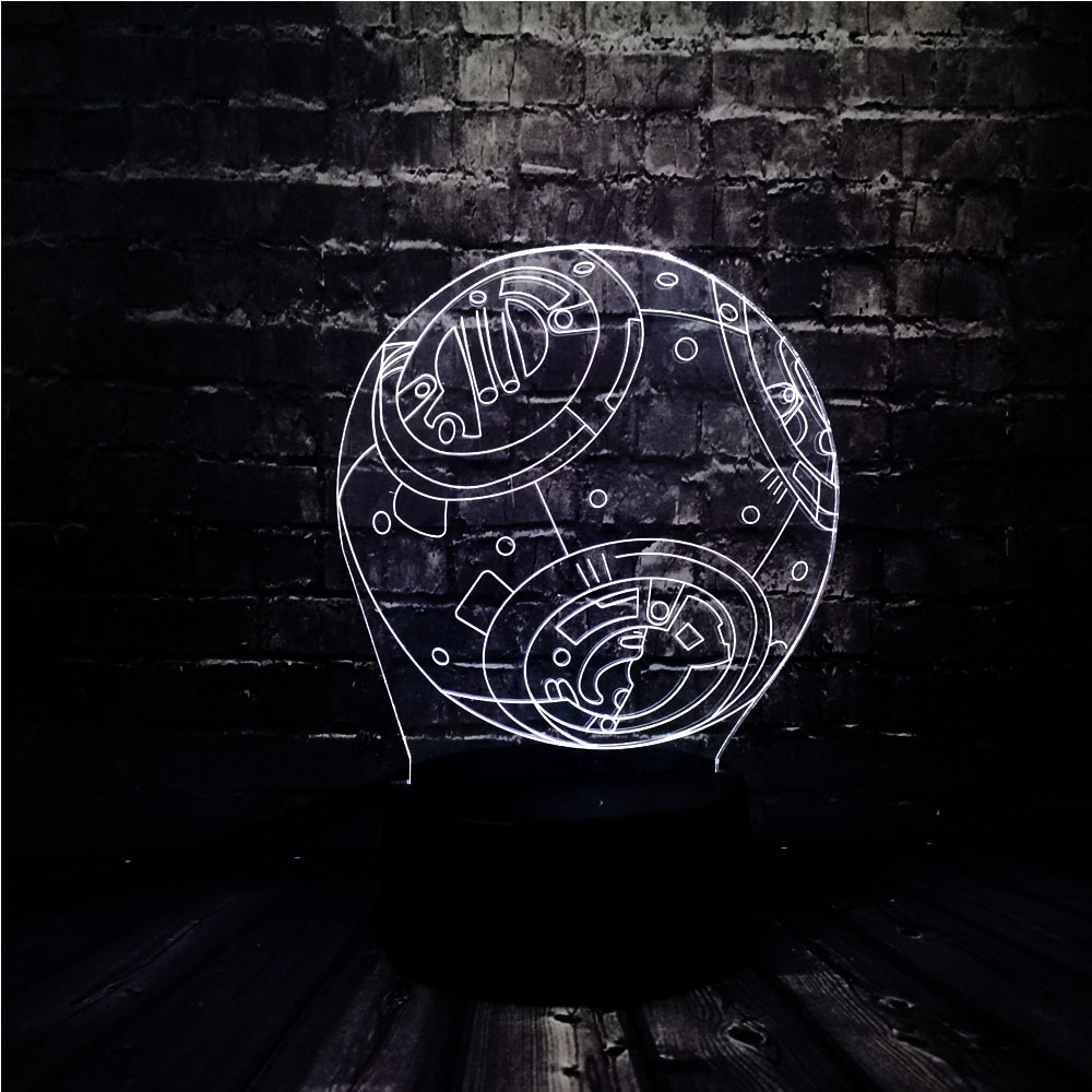 Novel Acrylic Luster Decor 3D Star Wars BB8 Battery Powered LED 7 Color USB Charge Home Table Night Light Holiday Birthday Gift image