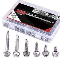 200pcs Hex Self Tapping Screw Assortment #8 #10 Stainless Hex Washer Head Self Drilling Sheet Metal Tek Screws With Drill Point
