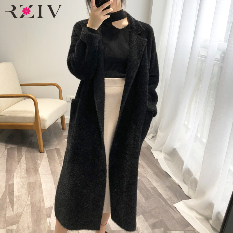RZIV High quality 2019 fall long coat women knitted coat and lady   trench   coat cardigan with belt soft