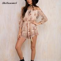 Hot Sale Off Shoulder Gold Sequined Romper Jumpsuit Women Mesh Sleeve Sexy Floral Sequins Summer Playsuits Party Short Overalls