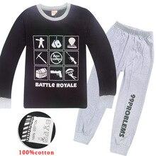 Купить с кэшбэком 100% Cotton Boys Battle Royale Christmas Pajamas Children's Sleepwear Girls Ps4 Gaming Night Wears Kids Pyjamas Pijamas Pjs set
