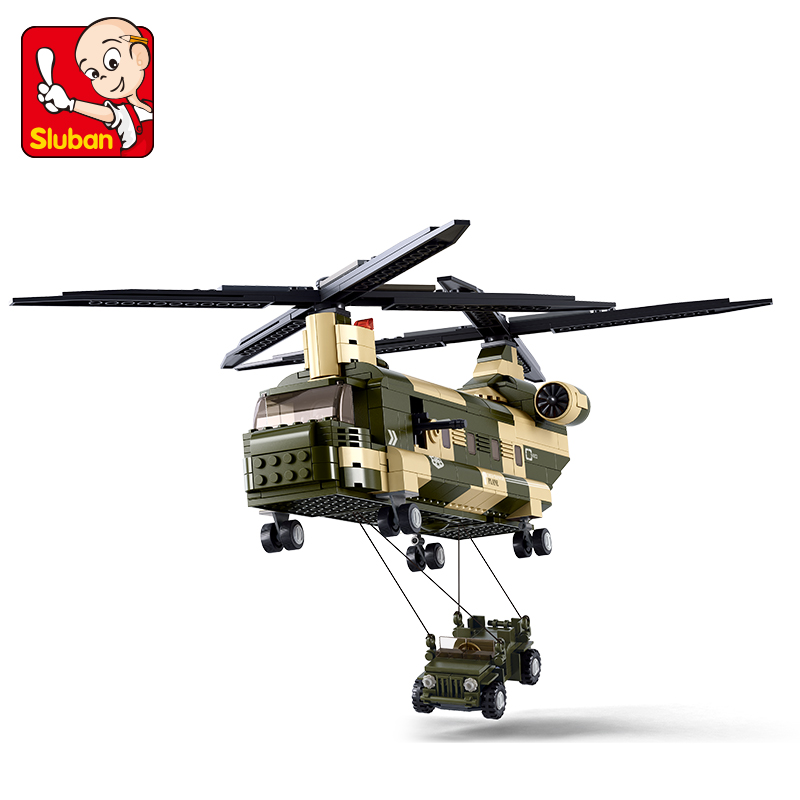 0508 SLUBAN Military Series CH-47 Transport Helicopter Model Building Blocks Enlighten Figure Toys For Children Compatible Legoe b0331 sluban city bus double decker 5pcs dolls model building blocks enlighten action figure toys for children compatible legoe