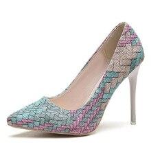 2017 Туфли-лодочки женская обувь весна-осень новый национальный ветер ретро плед каблуки с острым носком женские туфли-лодочки на шпильке Asakuchi карьера