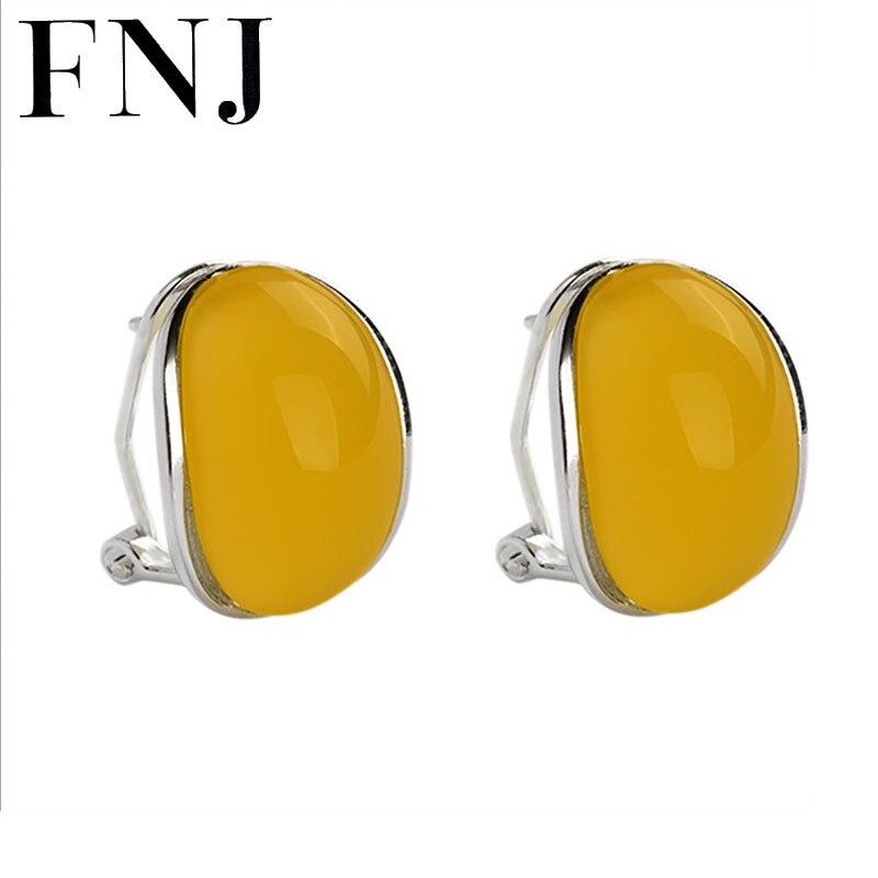 Boucles d'oreilles en pierre jaune naturel 925 boucle d'oreille en argent pour les femmes fête de mariage Brincos sterling-argent-bijoux boucle d'oreille