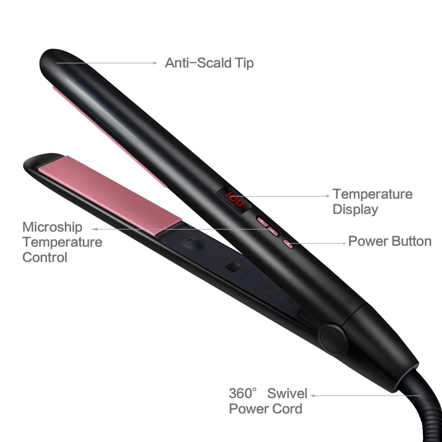 Hair Straightener Irons Quick Heating Professional 2 in 1 Ceramic Flat Iron Negative ion Hair Straightens Curl Adjustable Temp in Straightening Irons from Home Appliances