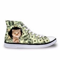 Noisydesigns casual Women sneaker Girl vintage lace up high top flat shoes Female vulcanized outdoor canvas cat cash print shoe