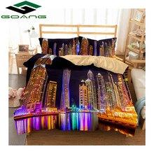 купить GOANG 3d bedding set digital printing city night scenery bed linen duvet cover bed cover pillow case 3pcs king size bedding set дешево
