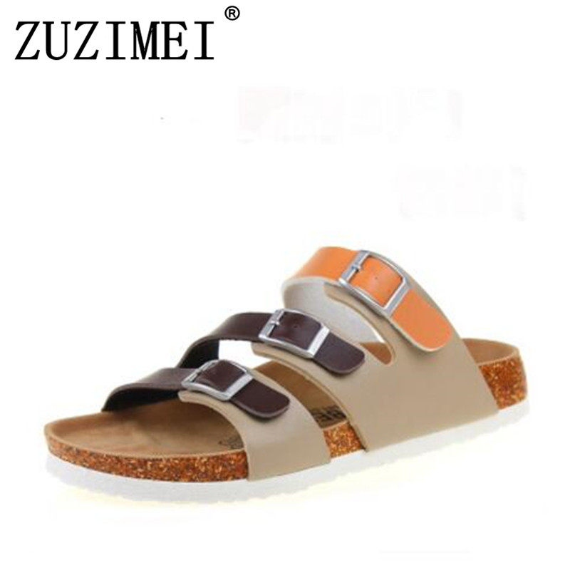 New Summer Buckle Cork Slipper Sandals Flat with Shoes 2017 Casual Women Mixed Color Beach Slides Flip Flops Plus Size 35-43 fashion women slippers flip flops summer beach cork shoes slides girls flats sandals casual shoes mixed colors plus size 35 43