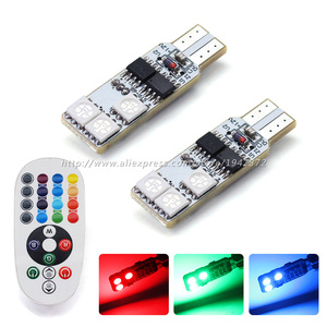 2PCS T10 5050 6SMD RGB LED White Blue Green Red Auto Instrument Clearance Lights Width Lamp Car Accessories Remote Control