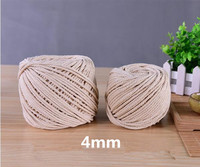 4mmx110m Natural Beige White Cotton Twisted Cord Rope DIY Home Textile Accessories Craft String