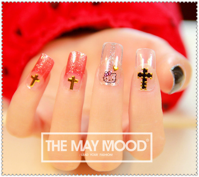 2 High Quanlity Fashion Decoracao Para Unhas Gilding Hollow Cross