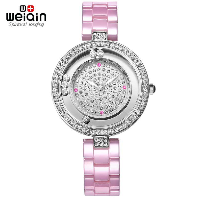 WEIQIN Luxury Pink Real Ceramic Band Rhinestone Fashion Watches Women Top Brand Tag Ladies Quartz Watch Clocks Relogios Feminino keep in touch luxury women watches top brand quartz bracelet dress calendar rhinestone ladies watch luminous relogios feminino