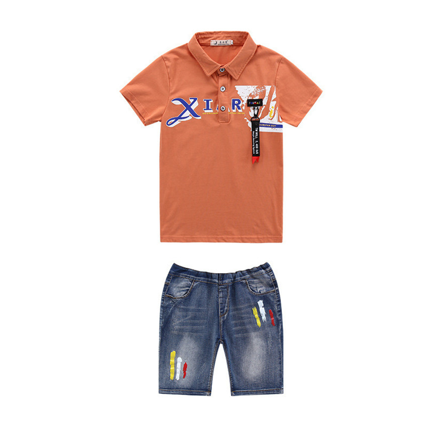 4-12 y 2018 boy summer set kids clothes boys outfits sets short sleeve polo shirt knee length jeans two-piece children sets
