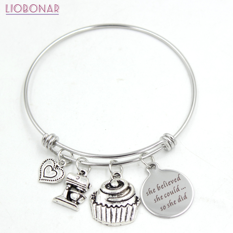 1 pc aço inoxidável pulseira ajustável fio de cozimento pulseira copo bolo baker pulseira para mulheres jóias bakers presentes